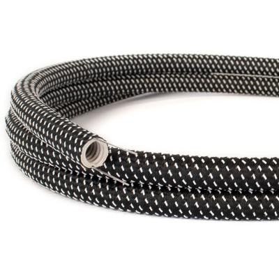 Creative-Tube: ohybná trubica potiahnutá čierno-bielou hodvábnou tkaninou s 3D efektom Star RT41, priemer 20 mm
