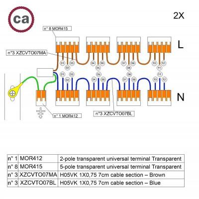 Sada konektorov WAGO kompatibilná s dvojžilovým káblom a stropnou rozetou s 12 otvormi