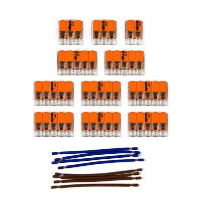 Sada konektorov WAGO kompatibilná s dvojžilovým káblom a stropnou rozetou so 14 otvormi