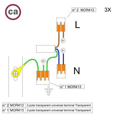 Sada konektorov WAGO kompatibilná s trojžilovým káblom a stropnou rozetou s jedným otvorom