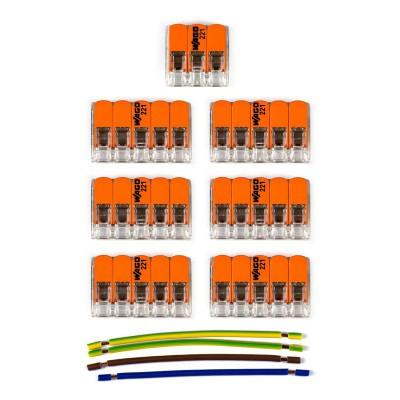 Sada konektorov WAGO kompatibilná s trojžilovým káblom a stropnou rozetou so 6 otvormi