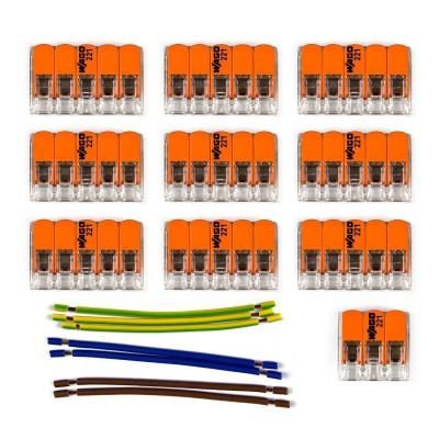 Sada konektorov WAGO kompatibilná s trojžilovým káblom a stropnou rozetou s 9 otvormi