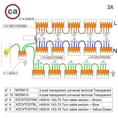 Sada konektorov WAGO kompatibilná s trojžilovým káblom a stropnou rozetou s 15 otvormi