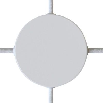 Valcová kovová stropná rozeta so 4 bočnými otvormi