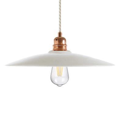 Závesná lampa s textilným káblom, keramickým tienidlom a kovovými detailmi – Vyrobená v Taliansku