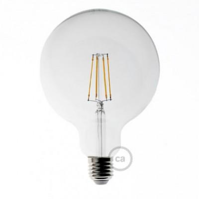 Žiarovka s LED vláknom Globe 6W E27 Priehľadná