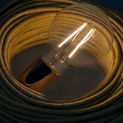Dekoratívna vintage žiarovka s LED vláknom 4W priehľadný glóbus G95 s teplým svetlom 2200K