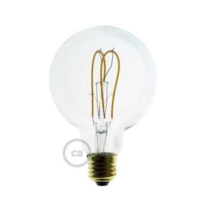 Priehľadná LED žiarovka - Glóbus G95 s dvojitým oblúkovým vláknom - 5W E27 Stmievateľná 2200K