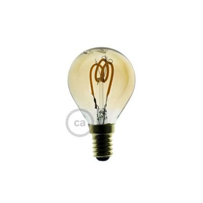 Zlatá LED žiarovka - Guľa G45 so špirálovým vláknom - 3W E14 Stmievateľná 2000K