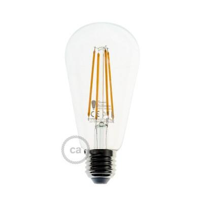 Priehľadná LED žiarovka - Edison ST64  s dlhými vláknami - 7.5W E27 Decorative Vintage Stmievateľná 2200K