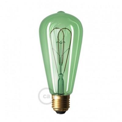 Smaragdová LED žiarovka - Edison ST64 s dvojitým oblúkovým vláknom - 5W E27 Stmievateľná 2200K